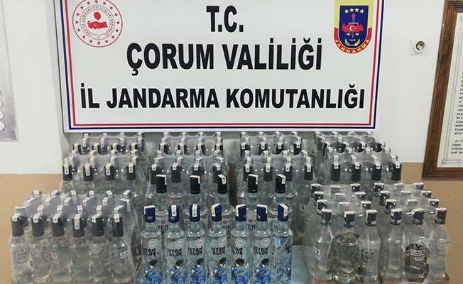 156 şişe kaçak içki ele geçirildi