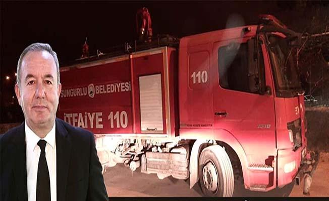 Başkan yangın ihbarı yaptı, denetledi