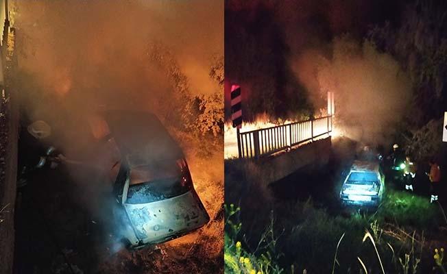 Köy yolunda araç yandı, 1 ölü