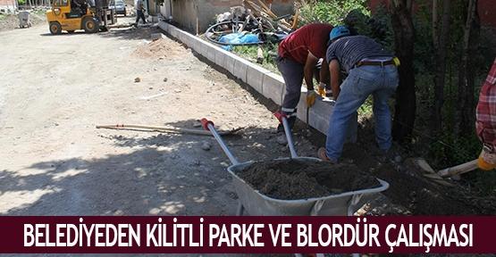 Belediyeden kilitli parke ve blordür çalışması