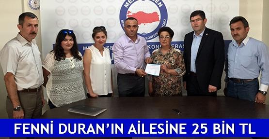Fenni Duran'ın ailesine 25 bin TL