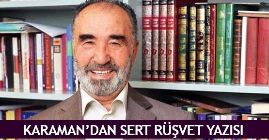Karaman'dan sert rüşvet yazısı