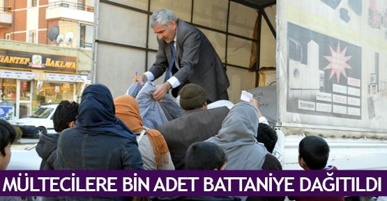 Mültecilere bin adet battaniye dağıtıldı