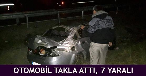 otomobil takla attı, 7 yaralı