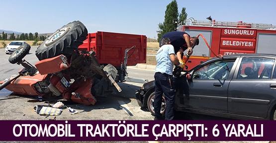 Otomobil traktörle çarpıştı: 6 yaralı