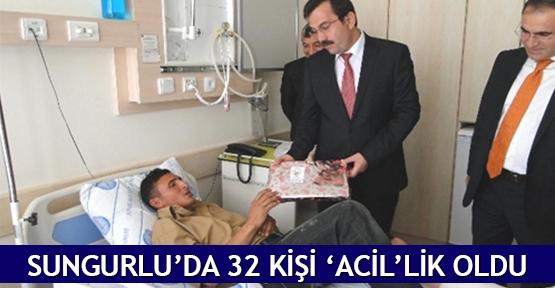 Sungurlu'da 32 kişi 'ACİL'lik oldu