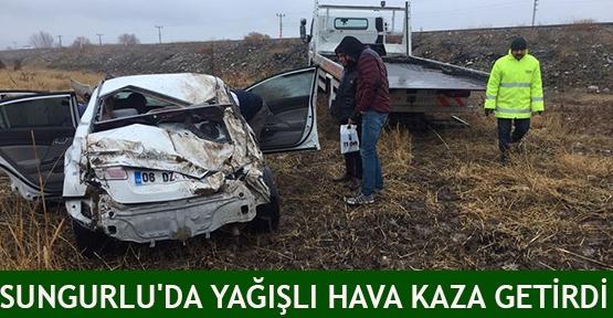Sungurlu'da Yağışlı hava kaza getirdi