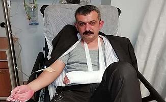 Seçim çalışmaları sırasında kolunu kırdı