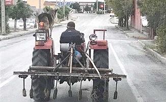 Köpeğini traktöründe taşıdı