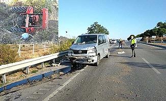 Sürücüsüz kalan traktör şarampole devrildi