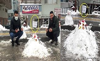 Kardan adam yerine mezar yaptılar