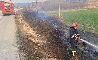 Arazi yangını, kavaklar ve sulama boruları yandı