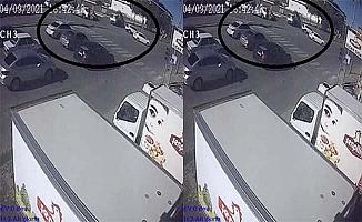 Çekicilerin kazası kamerada