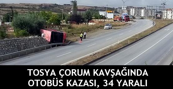 Tosya Çorum kavşağında otobüs kazası, 34 yaralı