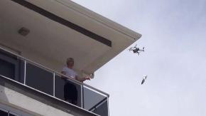 Belediye drone ile maske dağıtıyor