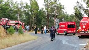 Çorum'da trafik kazası sonrası orman yangını