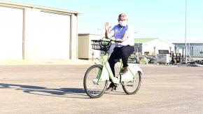 Bisikletler geldi, ilk Başkan bindi