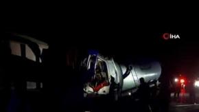 Çorum'da oksijen gazı yüklü tanker kaza yaptı
