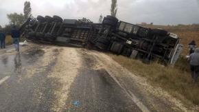 Çekirdek yüklü Tır devrildi, yol trafiğe kapandı